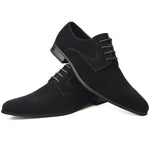 Men's plain-toe Derby shoes in black faux suede placed one on top of the other