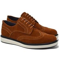 IMAGE 5 of round-toe brogue trainer in tan faux suede