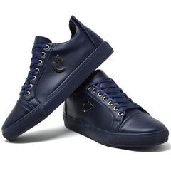 Mens New Navy Leather Designer Casual Work Summer Trainers Shoes