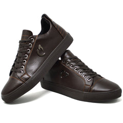 Mens New Brown Leather Designer Casual Work Summer Trainers Shoes