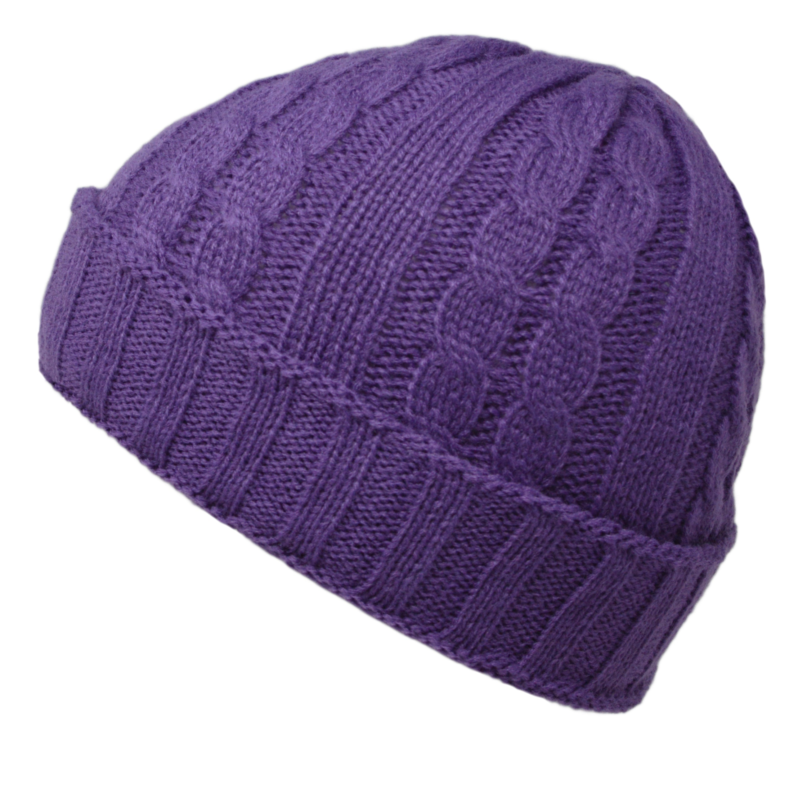 b52d63e946b68 Cable Knit Beanie Hat - Purple – ClassyDude