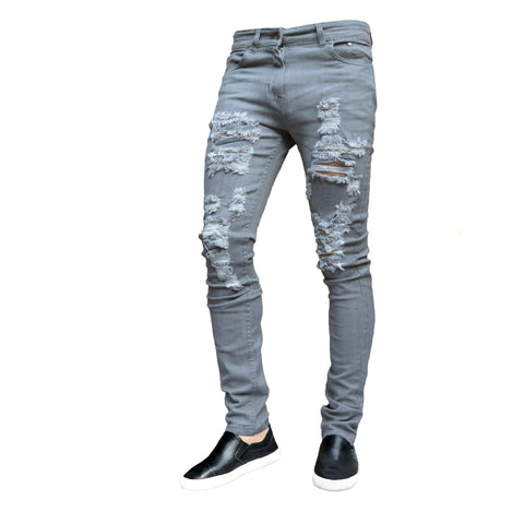 Picture of Mens Grey Ripped Frayed Skinny Stretch Denim Jeans