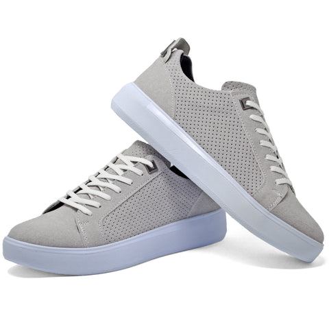 Picture of Mens Grey Shoes Skate Lace Up Casual Trainers