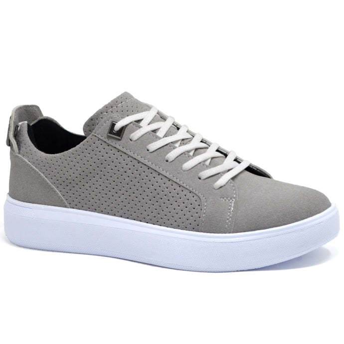 Mens Grey Shoes Skate Lace Up Casual Trainers
