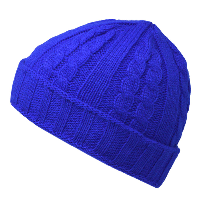 Cable Knit Beanie Hat - Royal Blue