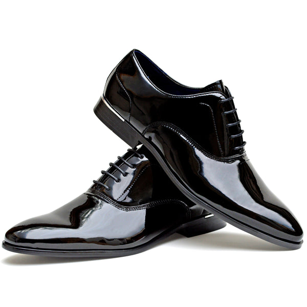 IMAGE 1 of Classic Oxford Shoe In Black Faux Patent Leather