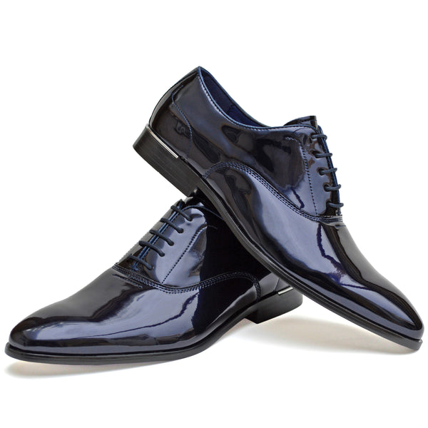 IMAGE 1 of Classic Oxford Shoe In Navy Faux Patent Leather