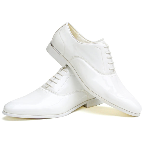 IMAGE 1 of Classic Oxford Shoe In White Faux Patent Leather