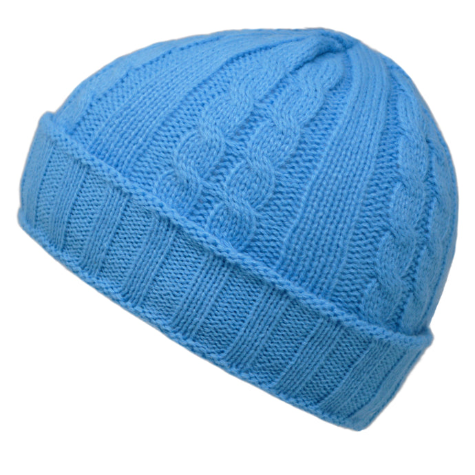 Cable Knit Beanie Hat - Light Blue