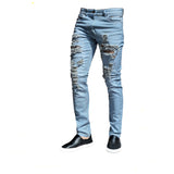 Mens Stone Wash Ripped Frayed Skinny Stretch Denim Jeans
