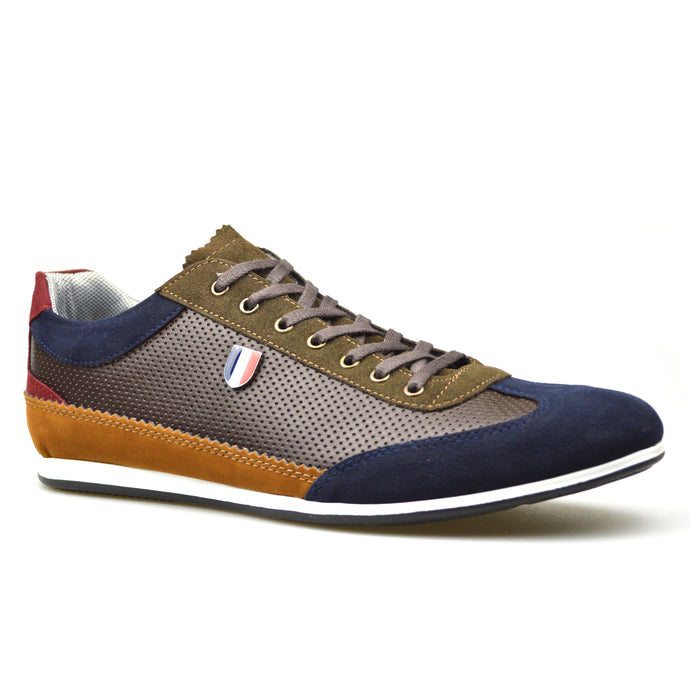 Mens Khaki Leather/Suede Style Lace-Up Trainers Shoes