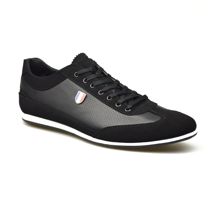 Mens Black Leather/Suede Style Lace-Up Trainers Shoes