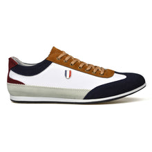 Load image into Gallery viewer, Mens White Leather/Suede Style Lace-Up Trainers Shoes