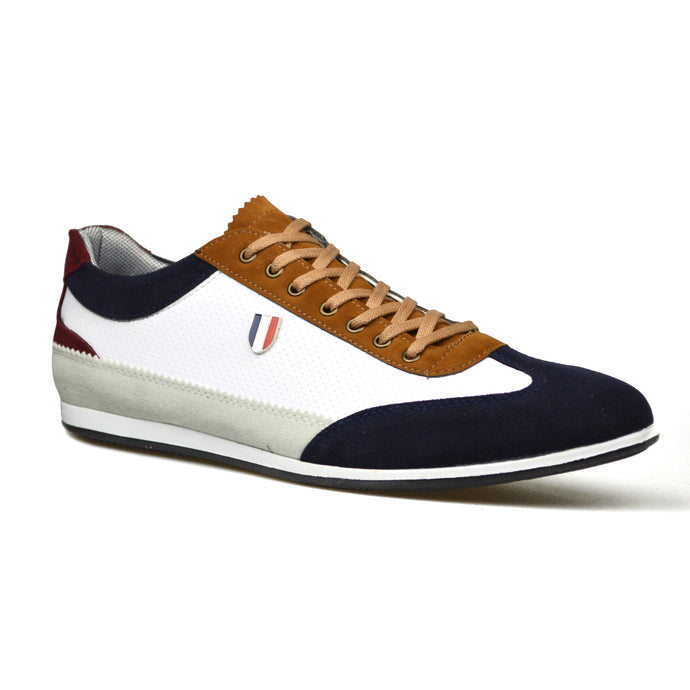 Mens White Leather/Suede Style Lace-Up Trainers Shoes