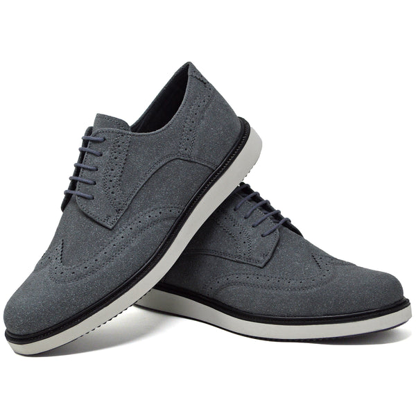 IMAGE 2 of round-toe brogue trainer in charcoal faux suede