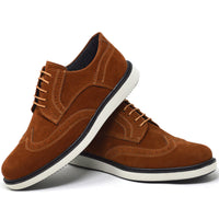 IMAGE 4 of round-toe brogue trainer in tan faux suede