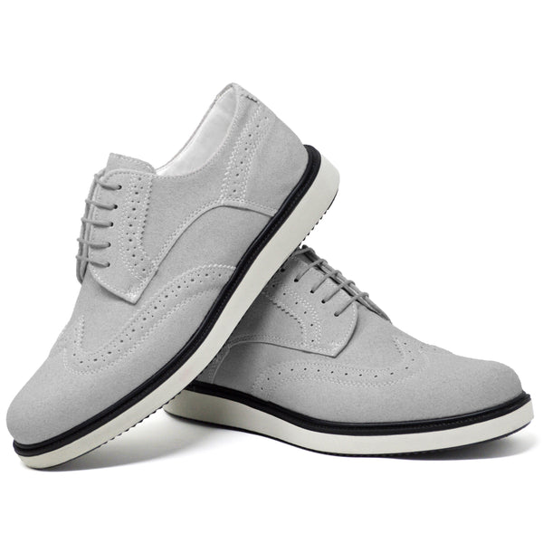 IMAGE 5 of round-toe brogue trainer in grey faux suede