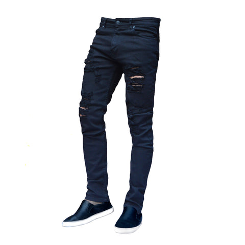 Picture of Mens Black Ripped Frayed Skinny Stretch Denim Jeans