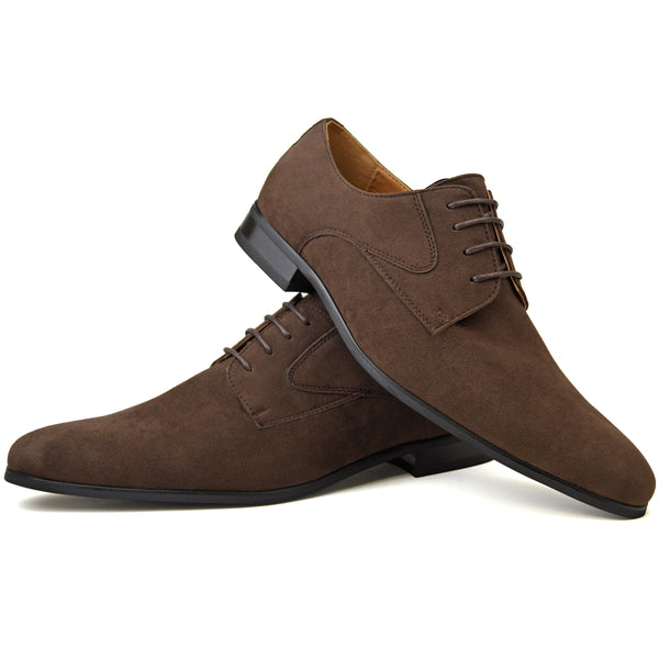 Men's plain-toe Derby shoes in brown faux suede placed one on top of the other