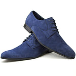 Men's plain-toe Derby shoes in navy faux suede placed one on top of the other