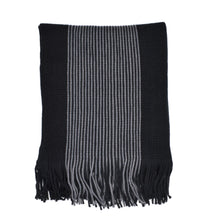 Load image into Gallery viewer, Classic Plain Tasselled Luxury Black Knitted Woolen Scarf - Black & Grey