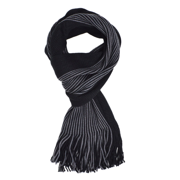 IMAGE 1 of tasselled scarf in black and grey