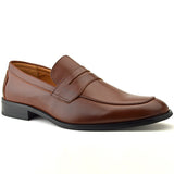 Classic Penny Loafer Shoe In Cognac Faux Leather