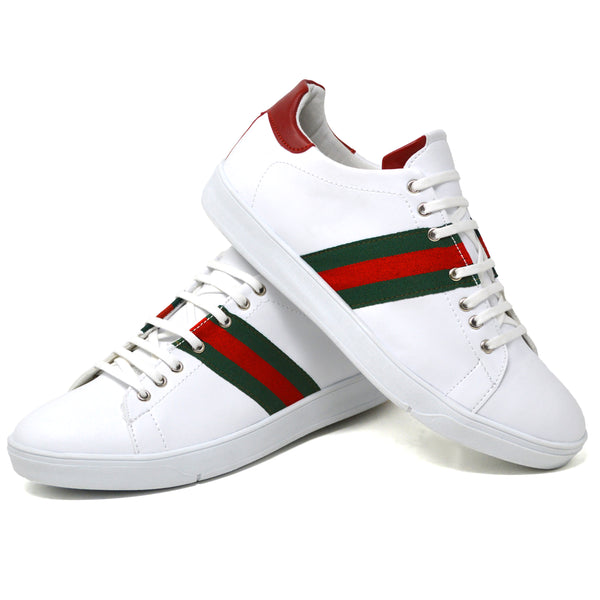 IMAGE 5 of embroidered trainers in white faux leather with red heel