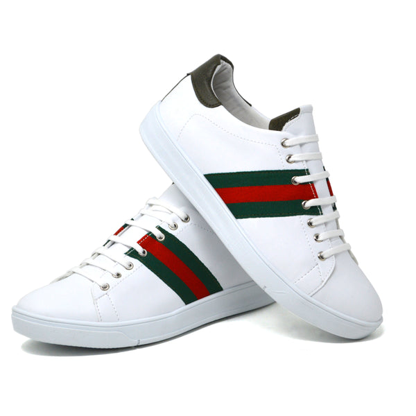 IMAGE 1 of embroidered trainers in white faux leather with green heel
