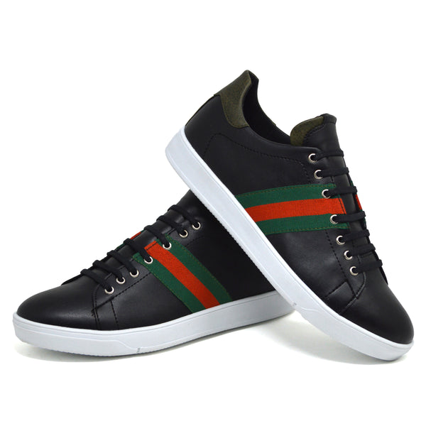 IMAGE 1 of embroidered trainers in black faux leather with green heel