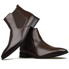 Mens Brown Leather Chelsea Style Smart Formal Casual Boots