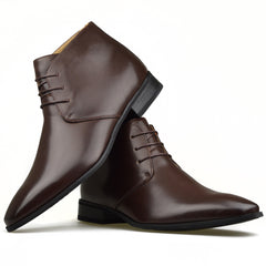 Mens Brown Smart Leather Style Formal Casual Lace-Up Boots