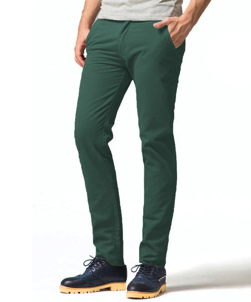 Dark Green Stretch Slim Fit Chinos