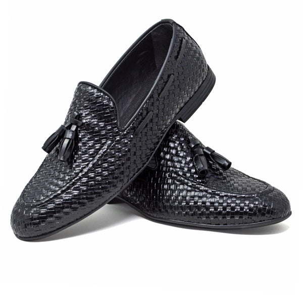 IMAGE 4 of thatched loafers in black faux patent leather