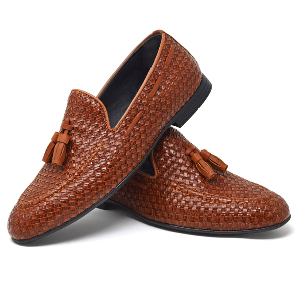 IMAGE 4 of thatched loafers in tan faux patent leather