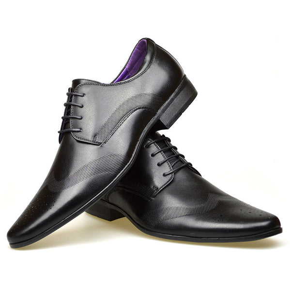 Men's black coloured longwing faux leather brogue shoes with smooth perforated design placed one on top of the other