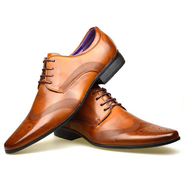 Men's tan coloured longwing faux leather brogue shoes with smooth perforated design placed one on top of the other