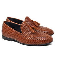 IMAGE 6 of thatched loafers in tan faux patent leather