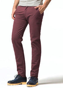 Mens Wine Designer Chinos Trousers Stretch Slim Fit Jeans