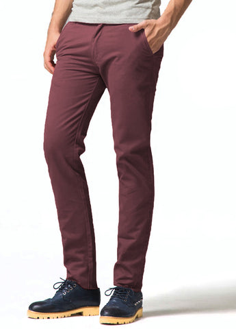Picture of Mens Wine Designer Chinos Trousers Stretch Slim Fit Jeans