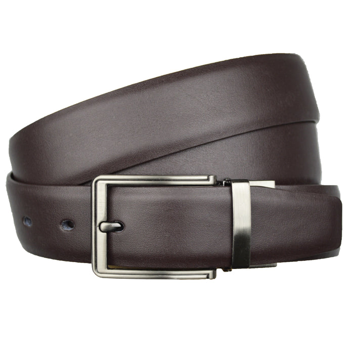 Brown Genuine Real Leather Reversible One Size Adjustable Belt