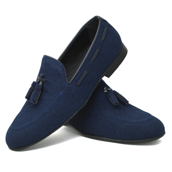 IMAGE 4 of smooth moccasins in navy faux suede