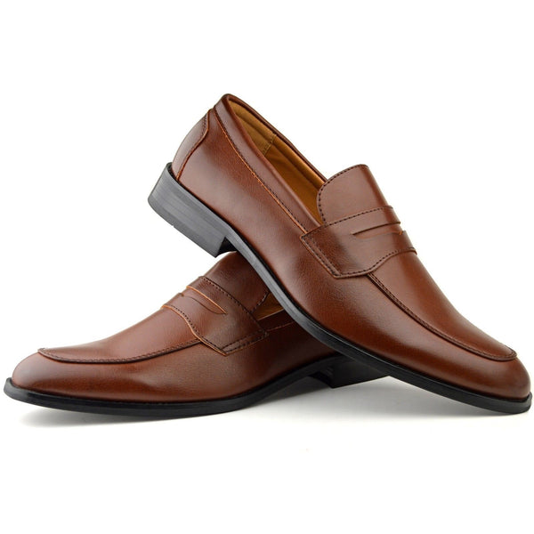 Men's classic penny loafer shoe in cognac faux leather placed one on top of the other