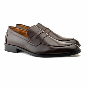 Mens Brown Smart Leather Slip On Loafers