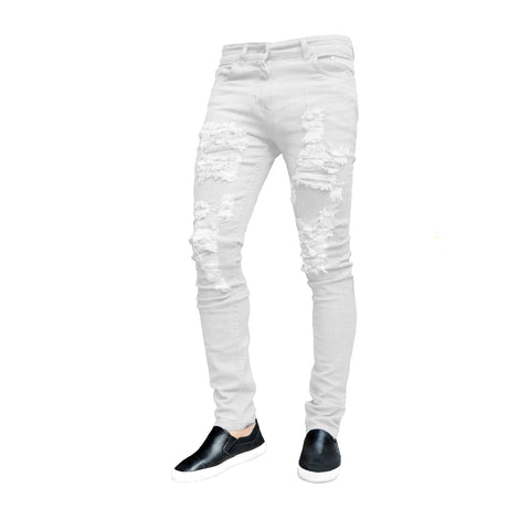 Picture of Mens White Ripped Frayed Skinny Stretch Denim Jeans