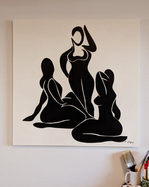 Three Women Painting 40 x 40 in