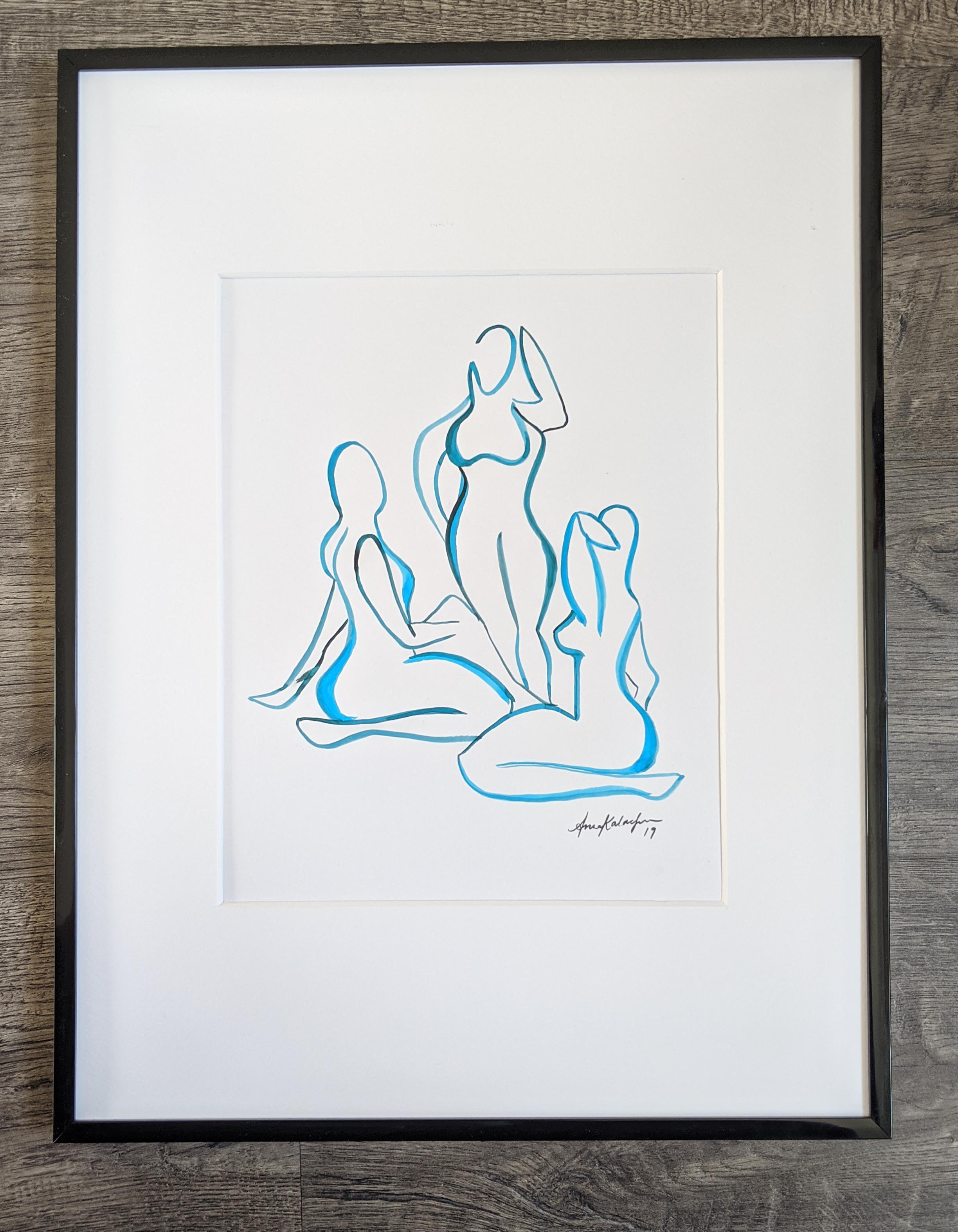 Three Women Study - Blue Outline, 12x9 in
