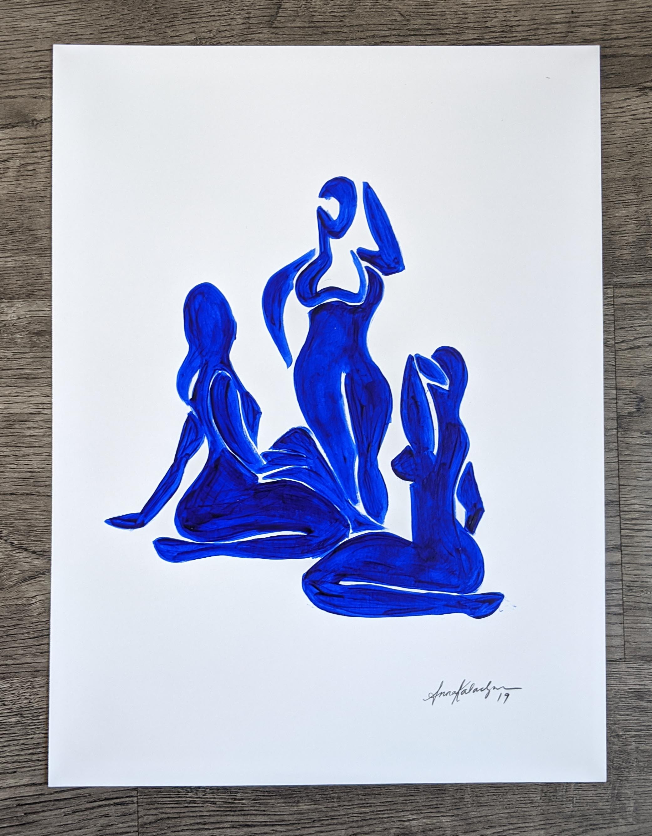 Three Women Study - Blue, 12x9 in