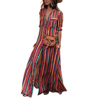 Maxi dress con estampado de rayas retro boho style