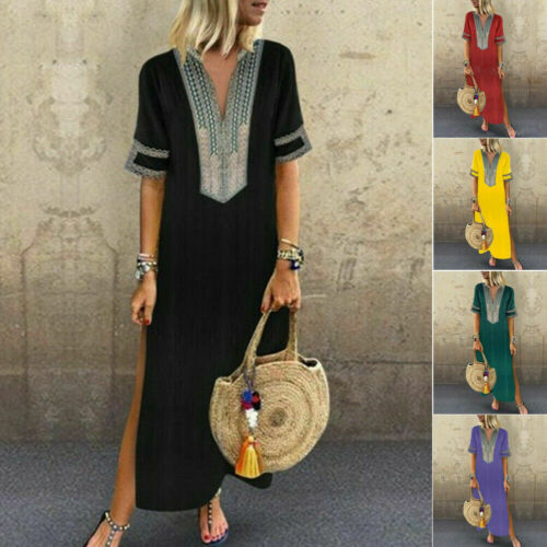 Boho Maxi Dress, cuello V